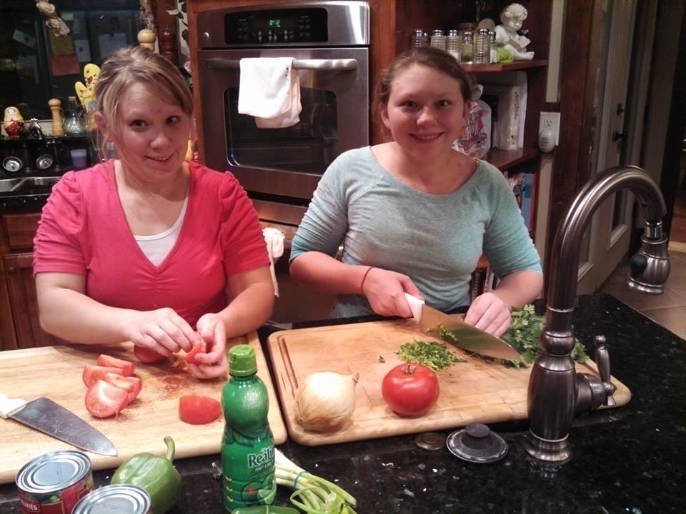 Annie and Sarah making 10k Salsa