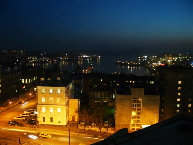 View of Golden Horn Bay from the Hyundai Hotel in Vladivostok.