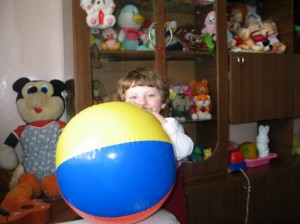 Katya with some of the toys from Luba's orphanage.