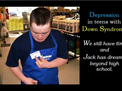 Photo of boy with Down Syndrome at his job in a grocery store