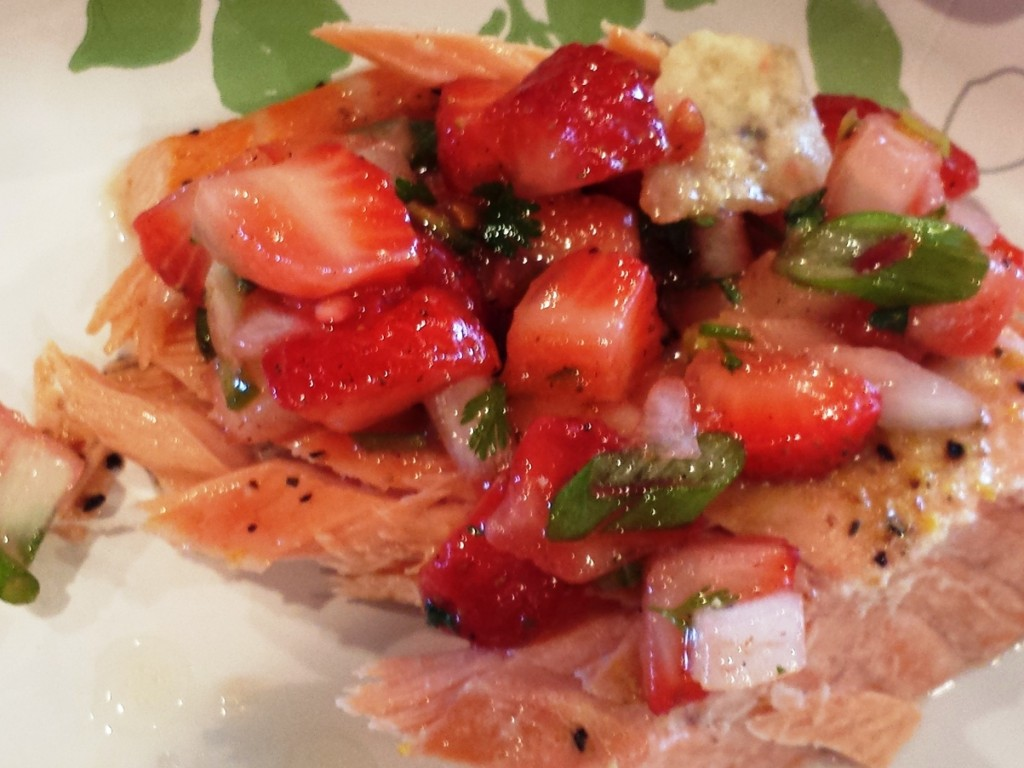 One of my favorite ways to eat salmon is with fresh strawberry salsa.