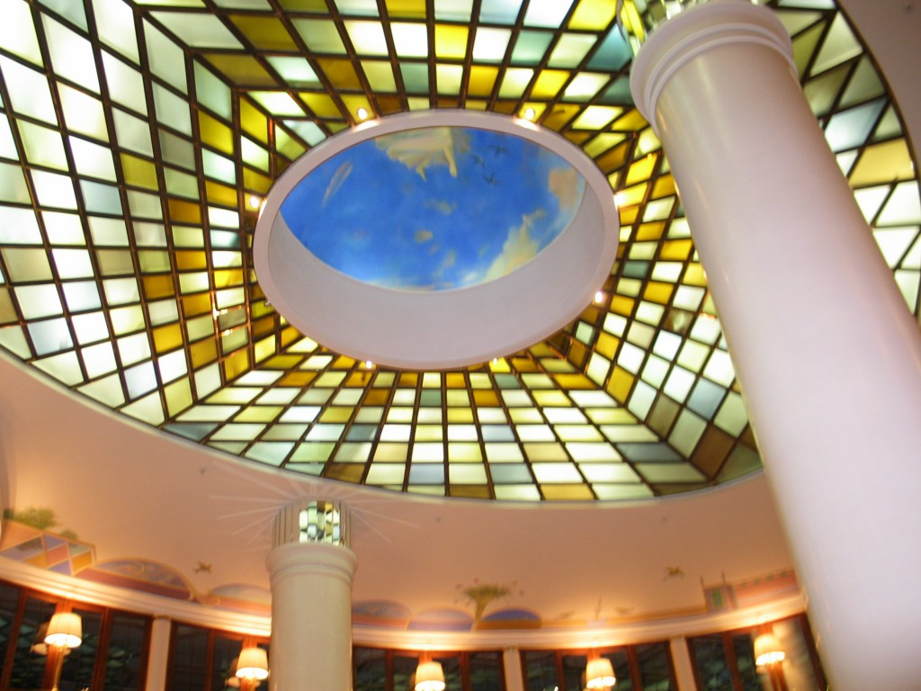 Fragmented glass ceiling at the Marriot Aurora in Moscow