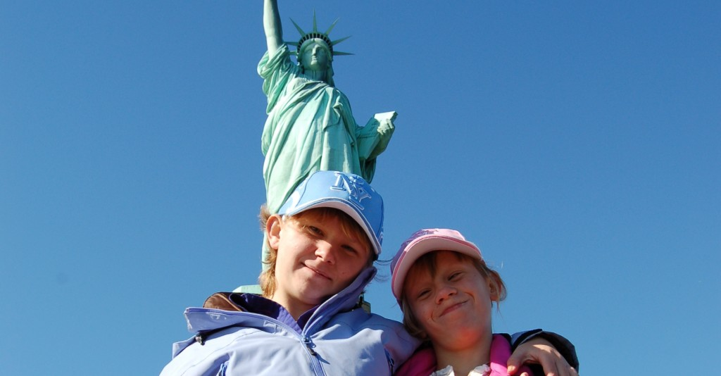 Emily Simmons at Statue of Liberty